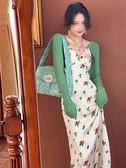 碎花洋裝 法式復古雪紡碎花連身裙女夏2021年新款白色吊帶裙設計感小眾外穿 晶彩 99免運