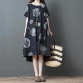 洋裝 連身裙 2019夏新款中大尺碼 韓版文藝舒適寬鬆顯瘦中長款印花短袖襯衫連衣裙女  快速出貨