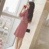 露背洋裝 流行復古高腰赫本風網紅洋裝女法式初戀裙子顯瘦露背洋裝 朵拉朵YC