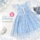 冰雪藍色小公主織花微透雪紡網紗洋裝(31...