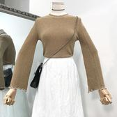 新款時尚韓版拼條紋修身微喇袖針織衫顯瘦圓領亮絲百搭上衣女