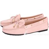 TOD'S City Gommino 綁帶膠底豆豆休閒鞋(女鞋/粉裸色) 1720118-05