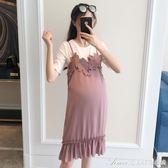 時尚孕婦裝夏裝新款洋裝寬鬆大碼雪紡兩件套套裝孕婦吊帶背心裙艾美時尚衣櫥