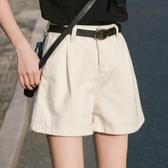 牛仔短褲白色短褲女牛仔夏外穿高腰寬鬆米色百搭a字闊腿熱褲潮新年禮物