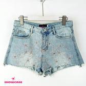 【SHOWCASE】小花刺繡水鑽毛襬牛仔抽鬚破褲(藍色)