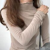 純色長袖T恤女修身荷葉邊高領打底衫女學生套頭上衣  喵小姐