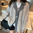 針織毛衣 長袖毛衣 秋冬外套開衫毛衣女假兩件西裝上衣外套H5F-501.依品國際
