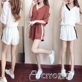 運動休閒套裝女夏新款時尚韓版寬鬆V領短袖T恤闊腿短褲兩件套  ciyo黛雅