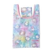 小禮堂 Hello Kitty 折疊尼龍環保購物袋 環保袋 側背袋 手提袋 (藍紫 動物裝) 4991567-26708