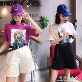 高腰短褲女夏季時髦韓版兩件套裝時尚寬鬆顯瘦洋氣闊腿bf 完美情人精品館