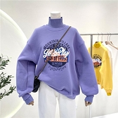 衛衣女加絨加厚2021秋冬新款韓版ins潮拼接毛衣領假兩件寬鬆上衣 伊蘿
