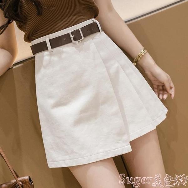 百摺裙 不規則半身裙2021夏季新款潮設計感女小眾高腰a字短裙顯瘦百摺裙 suger