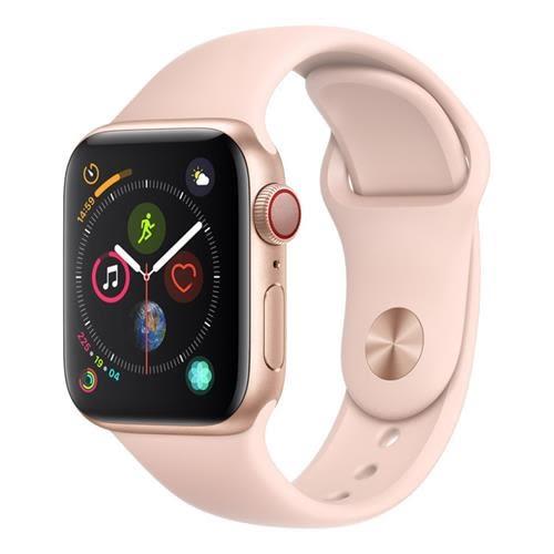 Apple Watch Series 4 (GPS + 行動網路),40 公釐金色鋁金屬錶殼搭配粉沙色運動型錶帶