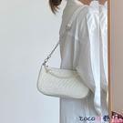 熱賣鍊條包 原創褶皺腋下包女2021新款法式復古珍珠鍊條側背斜背包時尚小包 coco