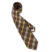 Vivienne Westwood經典斜格紋絲質領帶(咖啡黃)949100-8
