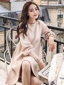 秋冬季初秋款新款155小個子女裝洋裝a字針織毛衣打底裙子潮 交換禮物