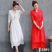 棉麻洋裝2019新長款韓版民族風有女人味的流行棉麻漢服改良連身裙子超仙夏 PA5817『紅袖伊人』