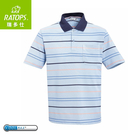 【Ratops 瑞多仕 男 Coolmax條紋POLO短袖上衣《深藍領》】DB8802/POLO衫/休閒上衣/運動短袖