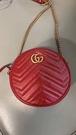 ▶2021 春夏新品■專櫃83折■ Gucci 全新真品 GG Marmont 550154 小圓餅相機包 紅色