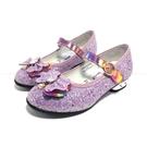 《7+1童鞋》冰雪奇緣 閃亮 蝴蝶結 微高跟 娃娃鞋 公主鞋 E609 紫色