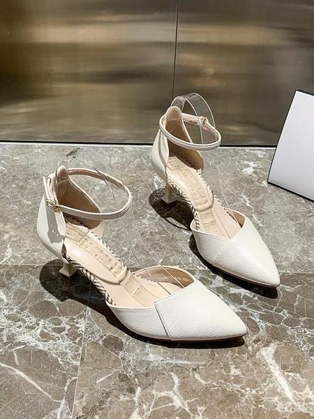 尖頭鞋 2021新款夏季優雅細跟高跟法式尖頭仙女風包頭涼鞋高跟鞋女鞋 印巷家居