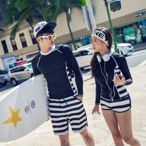 梨卡 - 情侶款長袖防曬顯瘦條紋二件式比基尼泳衣+男款長袖衝浪衣潛水服C922-2
