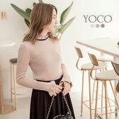 東京著衣【YOCO】赫本女孩多色荷葉滾邊高領上衣-S.M.L(171993)