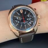 星晴錶業-FERRARI法拉利男錶,編號FE00003,46mm玫瑰金錶殼,咖啡色錶帶款