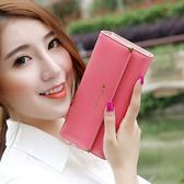 長皮夾 長款錢包女韓版簡約時尚甜美多功能大容量皮夾LJ8734『miss洛羽』