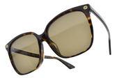 GUCCI 太陽眼鏡 GG0022SA 002 (琥珀棕) 奢華金屬蜜蜂LOGO微貓眼款 # 金橘眼鏡