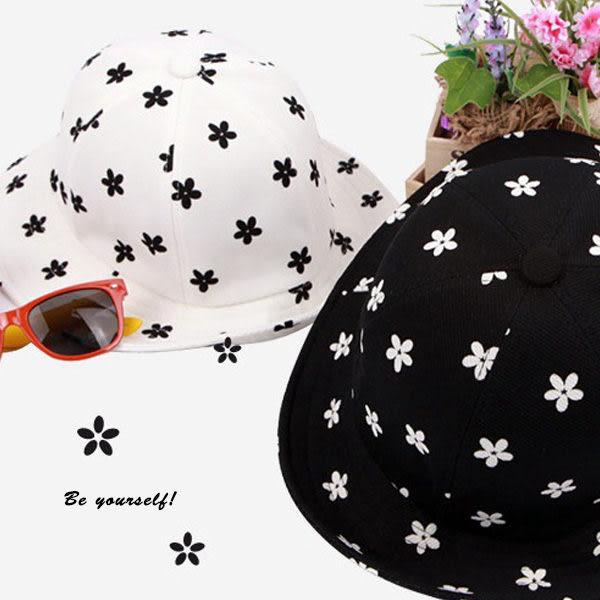 清新黑白撞色小雛菊造型漁夫帽 帽子  可   【櫻桃飾品】【22085】