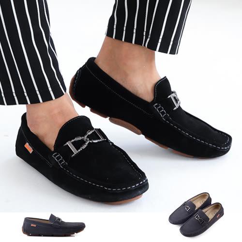 男款 型男必備簡約金屬飾釦真皮手工豆豆鞋 59鞋廊