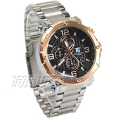 T5 sports time 粗曠真三眼計時手錶 潮男錶 計時碼錶 防水 日期視窗 玫瑰金框 H3640玫銀