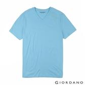 【GIORDANO】男裝棉質V領素色T恤-05 海水藍