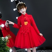新年童裝 女童洋裝秋冬洋氣中國風禮服旗袍公主裙兒童新年裝粉色加絨裙子  免運快速出貨