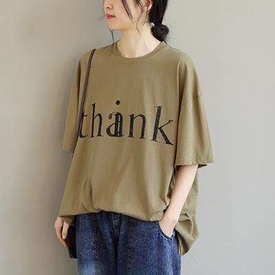 純棉字母印花七分袖T恤 圓領寬鬆套頭上衣/2色-夢想家-0325
