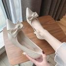 法式細跟小高跟鞋女2021春新款百搭少女小清新尖頭淺口單鞋工作鞋 快速出貨
