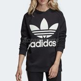 adidas 大學T Oversize Sweatshirt 黑 白 三葉草 寬鬆 落肩 女款 【PUMP306】 DH3129