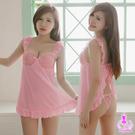 荷葉邊蕾絲肩帶後開襟二件式睡衣 SEXYBABY 性感寶貝ENA10030129