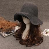 帽子女時尚百搭盆帽漁夫帽韓版潮毛呢帽子英倫復古小禮帽 黛尼時尚精品