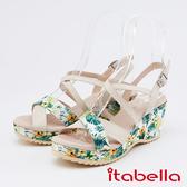 itabella.花紋布拼接牛皮楔型涼鞋(0321-00米色)