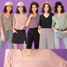 現貨◆PUFII-針織上衣 V領虛線五分袖針織上衣- 0311 春【CP19878】