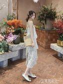 雪紡裙-波點雪紡吊帶長裙女裝新款韓版寬鬆中長款蛋糕子夏 花間公主
