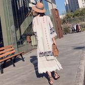 【雙11】泰國度假沙灘防曬衣女夏裝民族風刺繡披肩外套復古中長款流蘇免300