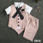 兒童西裝套裝男童潮夏季男寶英倫短袖西服小孩演出禮服CC2406『易購3c館』