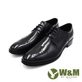 W&M(男)大尺碼真皮紳士翼紋綁帶德比鞋 男鞋-黑