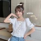 白色泡泡袖上衣女短款短袖夏季2021新款洋氣超仙甜美褶皺方領雪紡 【端午節特惠】