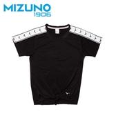 MIZUNO 女裝 短袖 上衣 1906 休閒 時尚 側邊LOGO 黑【運動世界】D2TA920599