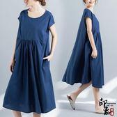 大尺碼洋裝實拍圓領套頭寬鬆顯瘦文藝復古棉麻短袖連身裙 超值價