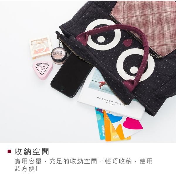 Kiro貓‧大眼貓頭鷹手提包/手提袋/手拎包/輕便包/先染布【270040】
